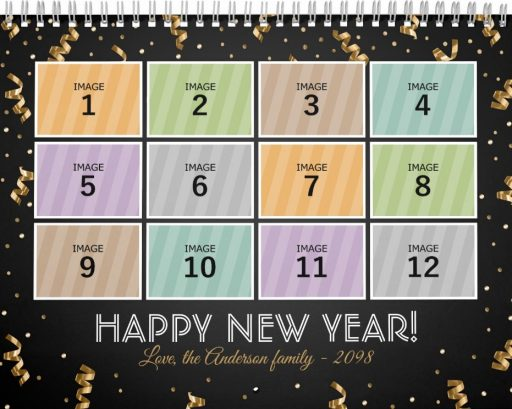 Personalized Family Photo Calendar Template - Happy New Year!