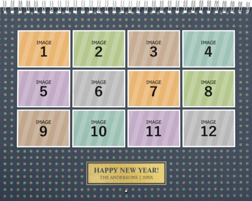 Personalized Family Photo Calendar Template - Polka Dot Background