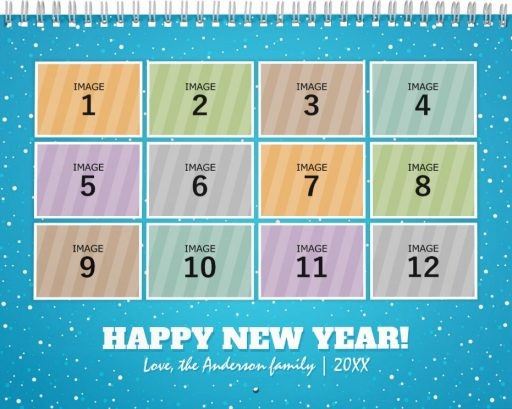 Personalized Family Photo Calendar Template – Starry Sky Background