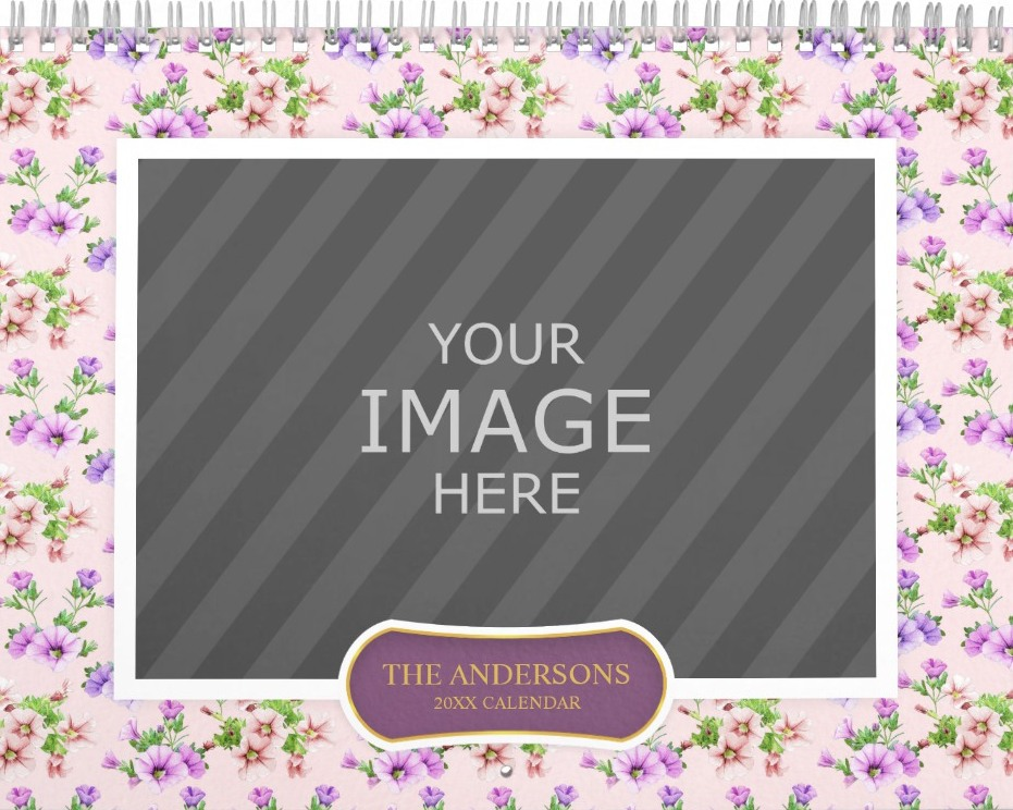 Family Wall Calendar Template - Floral Backgrounds Petunia cover