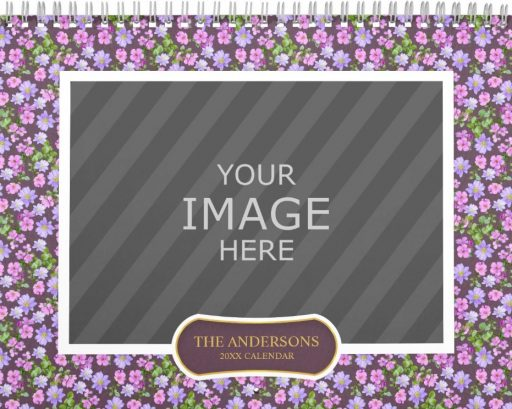 Family Wall Calendar Template - Floral Backgrounds Purple Flower Cover