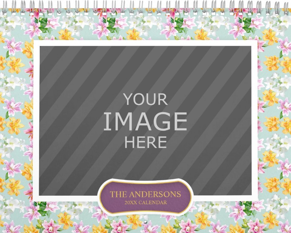 Family Wall Calendar Template - Floral Backgrounds Turquoise Cover