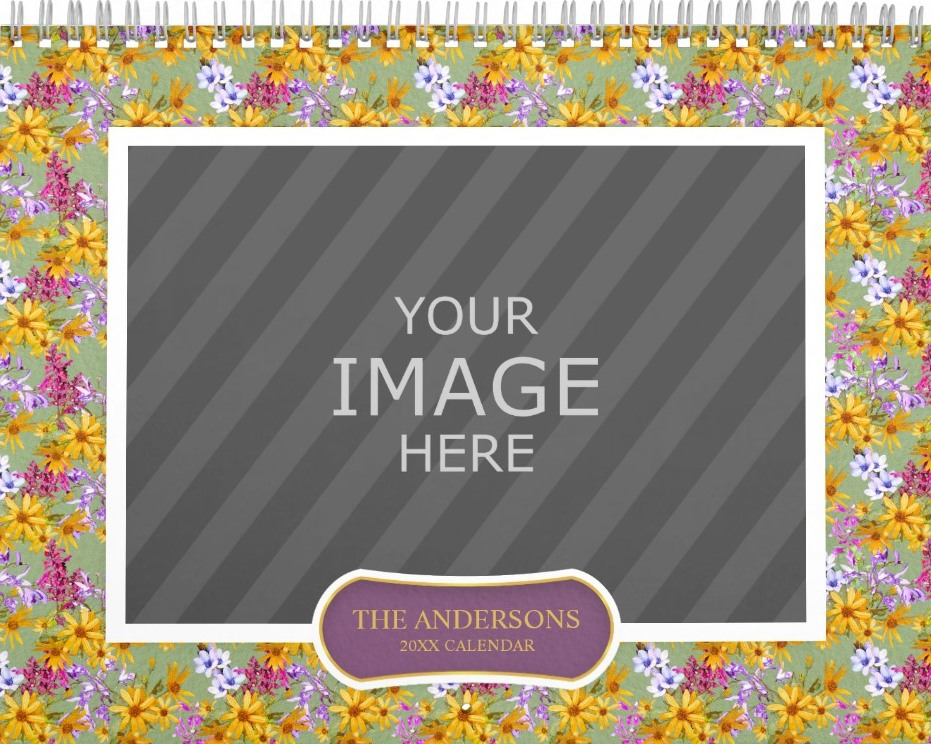 Family Wall Calendar Template - Floral Backgrounds Yellow Green Cover
