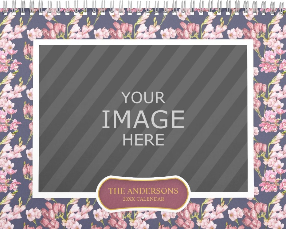 Family Wall Calendar Template - Floral Patterns