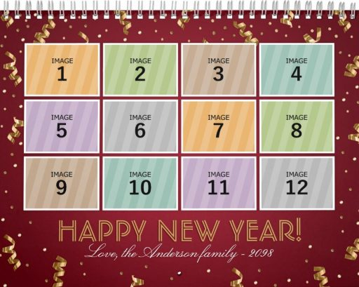 Personalized Family Photo Calendar Template - Happy New Year Red Cover