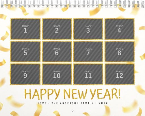 Personalized Family Photo Calendar Template - Happy New Year White Cover