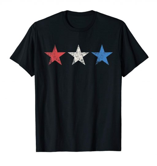 4th of July T Shirt Red White Blue Stars Grunge Patriotic American Tee