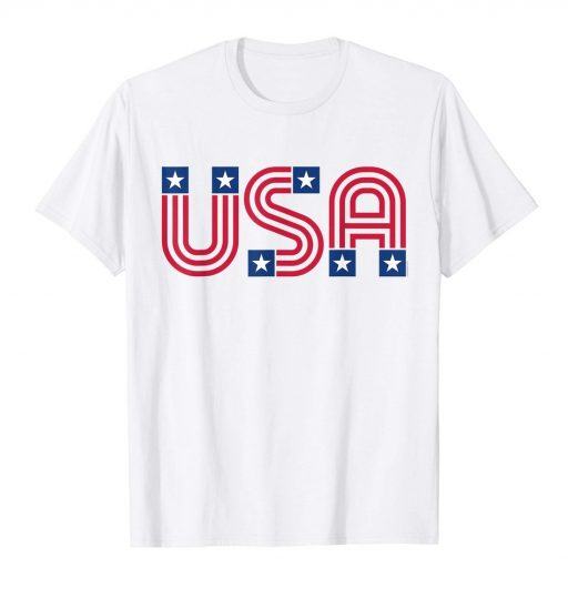 American Flag Shirt White Retro Patriotic 4th of July USA Tee
