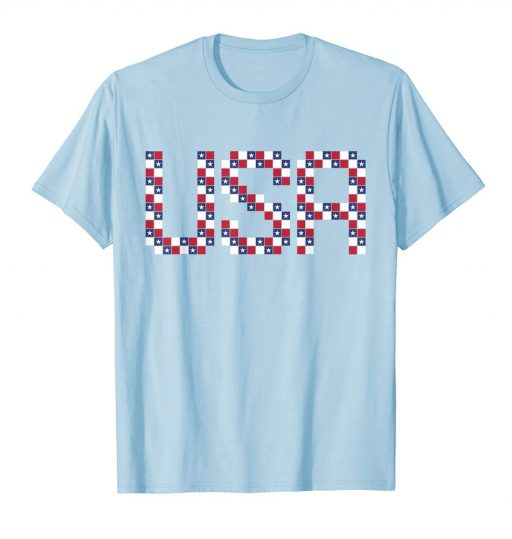 Creative USA T Shirt American Flag Red White Blue Stars 4th of July Patriotic Tee