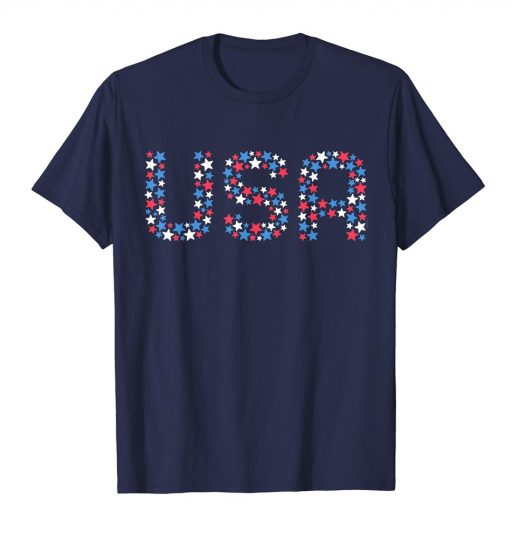 USA 4th of July Red White Blue Stars T Shirt Patriotic American Pride Tee