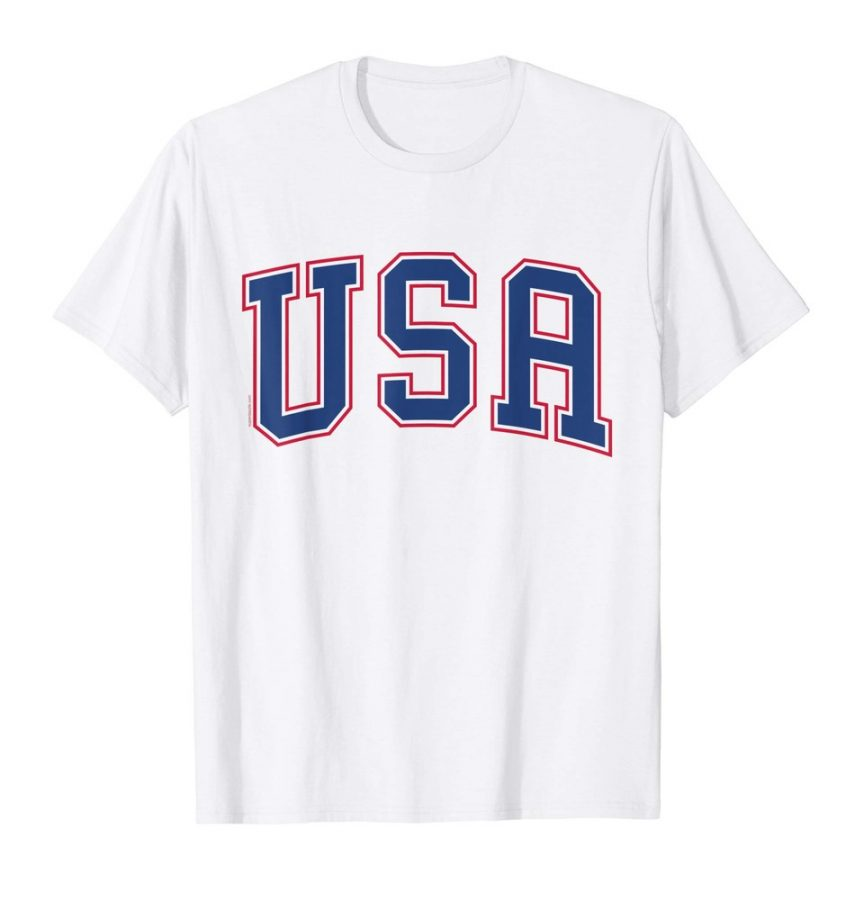 USA T Shirt Athletic Style Patriotic American 4th of July Tee