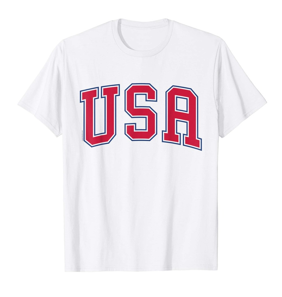 USA T Shirt Red Font Patriotic American 4th of July Tee