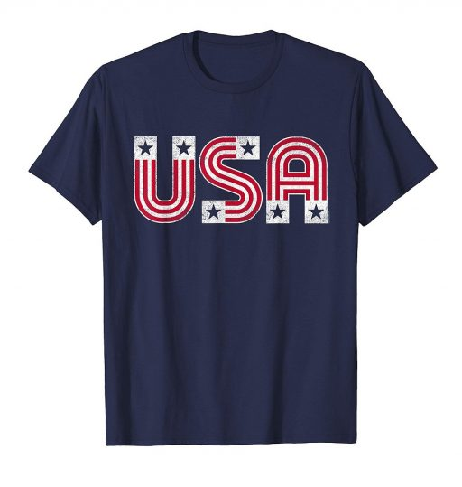 USA T Shirt Retro Patriotic American Flag Shirt 4th of July Tee