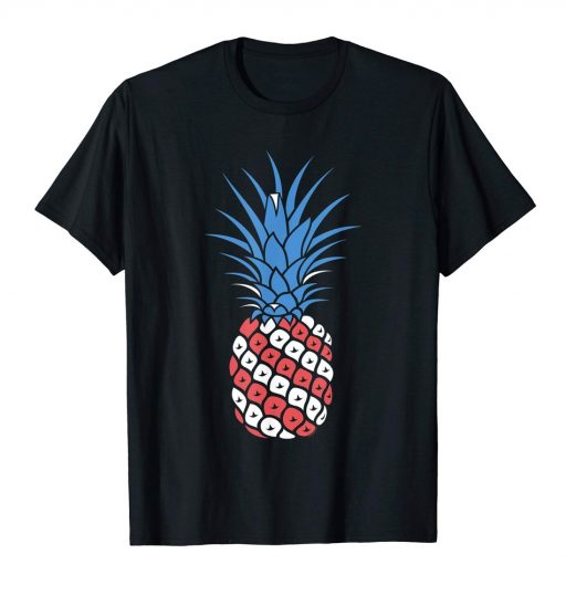 4th of July T Shirt Red White Blue Pineapple Patriotic American Tee