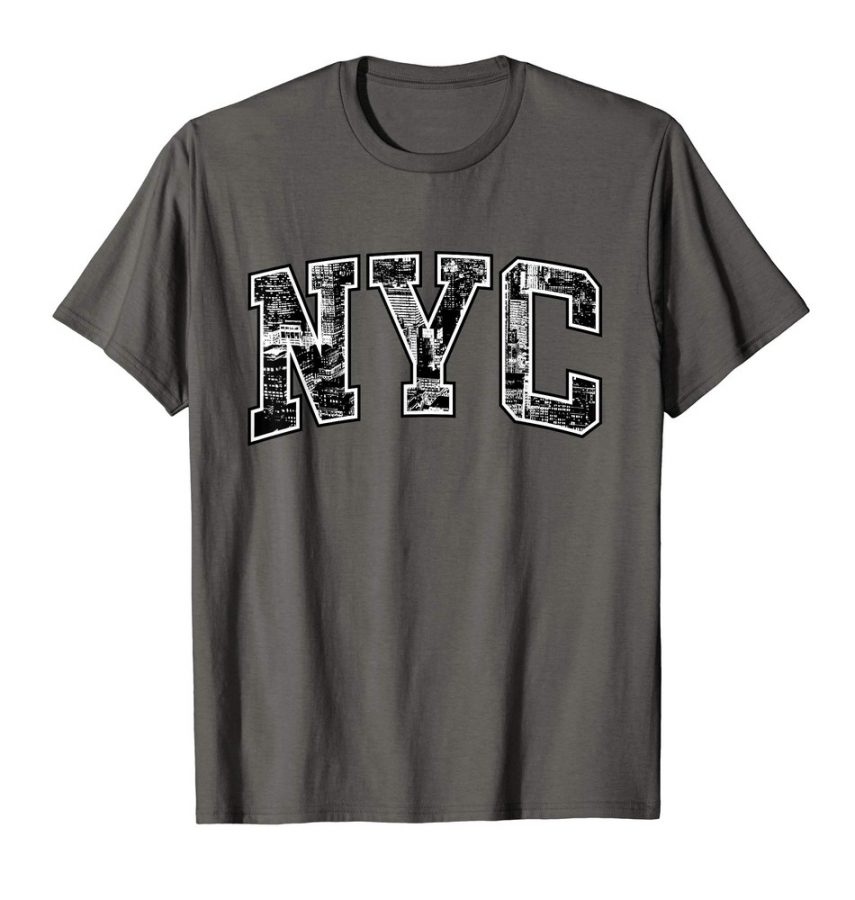 New York City NYC T-Shirt Skyscraper Text For Women, Men and Kids